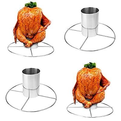 4 Edelstahl Hähnchenbräter - 20 x 10,5 cm (ØxH), mit Aromabehälter, spülmaschinengeeignet, für gleichmäßiges Grillen von allen Seiten