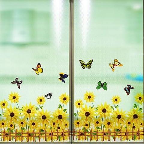 GU LIANG Finestra Francese Stickers Sun Flower