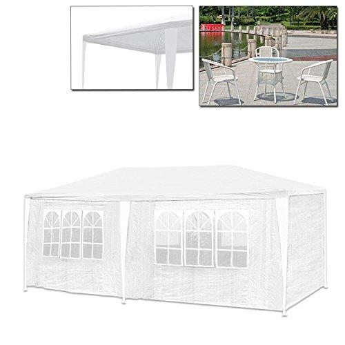 VINGO® 3 x 6 m Festzelt Weiß mit 6 Seitenteilen und 2 Eingängen Gartenzelt mit extra dickem Stahlgestänge Wasserdicht PE Camping Festival als Unterstand und Plane