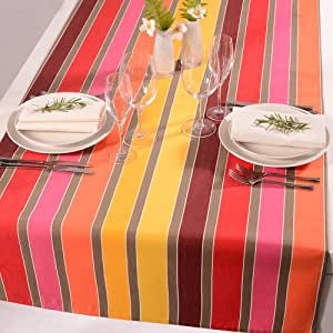Chemin de table 80 x 260 cm fantasia d'extérieur à rayures 45 x 150 cm