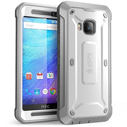 HTC One M9 Hülle, SUPCASE Ganzkörper-Rugged Holster Hülle mit integrierter Schutzfolie für HTC One M9 (2015 Release), Unicorn Beetle PRO Serie (Weiß/Grau)