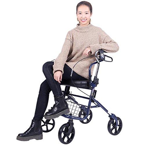 Rollator Walker-korb (Leichtgewichtler, Der 4 Rad-Einkaufslaufkatze Mit Aufgefülltem Sitz Und Korb, Älterer Rollator Walker Faltet,Blue)