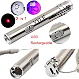 3 en 1 500 LM Mini aluminio USB recargable LED UV Taschenlampe Pen multifuncional...