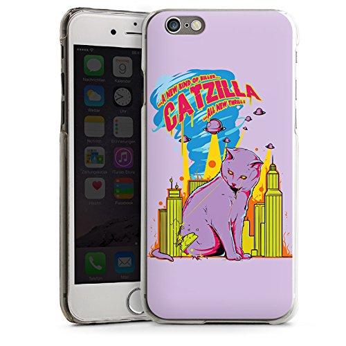 Apple iPhone 4 Housse Étui Silicone Coque Protection Catzilla Godzilla Chat CasDur transparent