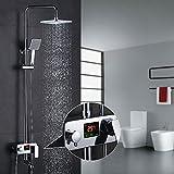 Homelody 3-Wege Duschsystem Duscharmatur mit LCD Temperatur-Anzeige Rainshower Regendusche Handbrause Duschset Dusche Armatur f. Badezimmer