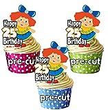 vorgeschnittenen Vintage Dolly Puppe–25. Geburtstag–Essbare Cupcake Topper/Kuchen Dekorationen–Mädchen–Tochter–Geburtstagskarte für Enkelin–Meine Damen (12Stück)