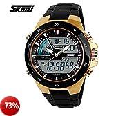 SunJas Orologi da polso sportivi 5ATM Impermeabile Moda Uomo LCD Digital cronometro cronografo Data dell