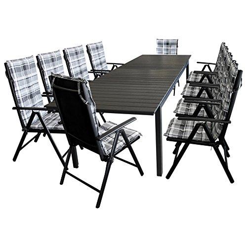 XXL Gartengarnitur Sitzgarnitur Terrassenmöbel Gartenmöbel Set - Ausziehtisch, Aluminium, Polywood Tischplatte, 280/220x95cm, schwarz + 10x Hochlehner, Textilenbespannung, Lehne 7-fach verstellbar + 10x Sitzauflage