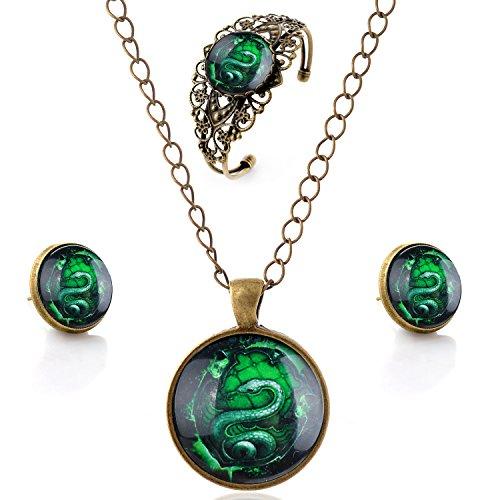 lureme® Zeit Gem Series Jahrgang Grün Schlange Pendant Halskette Stud Ohrringe Hollow Blume Armreif Schmuck-Sets (09000621) (Snake-ohrring-stud)