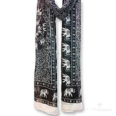 LS37-Soft & Translucent Chiffon Silky Feeling Scarf with Oriental Patterns on-37#