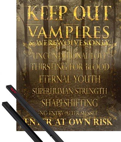 1art1 Poster + Hanger: Spaß Mini-Poster (50x40 cm) Zutritt Nur Für Vampire Und Werwölfe Inklusive EIN Paar Posterleisten, Schwarz