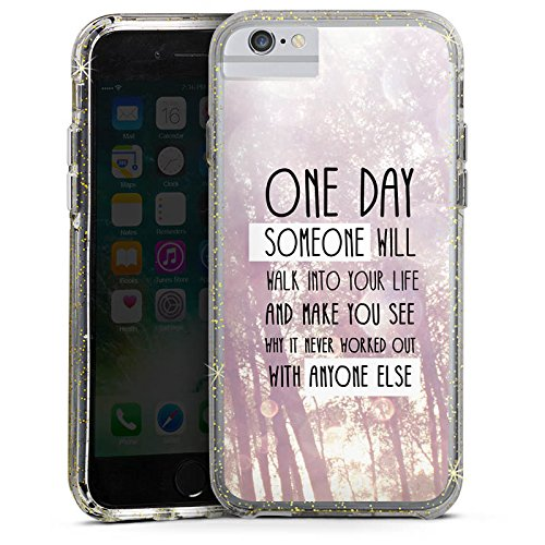 Apple iPhone 6 Plus Bumper Hülle Bumper Case Glitzer Hülle Lebensweisheit Pastel Pastell Bumper Case Glitzer gold