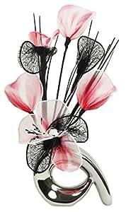 Flourish 792879 - Composizione di fiori artificiali mini, a spirale, 32 cm, colore: rosso/bianco/nero