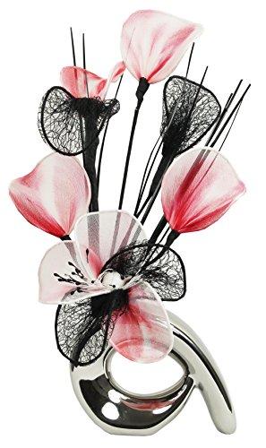 Flourish 792879QH1Silbervase mit roten, schwarzen und weißen künstlichen Nylonblumen, Deko, Geschenk, Heimzubehör, 32cm