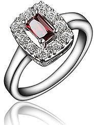 Rojo Zircon cúbico cuadrado diamante corte princesa anillo Eternity promesa aniversario corona boda banda 18ct chapado en oro blanco regalo para mujer chica