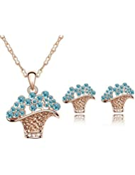 AnaZoz Joyería de Moda Juegos de Joyas Flor Cesta 18K Chapado en Oro Cristal Austria Colgante Collar/Pendiente Juego de Boda Moda