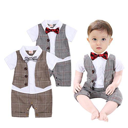 G-Kids Baby Jungen Strampler Smoking Gentleman Plaid Anzug Kleinkinder Sommer Kleidung Outfit FliegeTaufkleidung (Khaki, 80/6-9 Monate) -