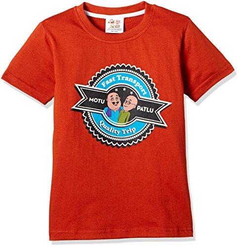 Motu Patlu Boys' T-Shirt (HST-2197_Red_2-3 Years)