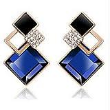 Blue Geometric Pattern Trendy Crystal Fu...