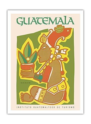 Guatemala - Yum Kax, Dios Del Maiz (Herr des Waldes) - Maya-Gott der Wildpflanzen und Tieren - Vintage Retro Welt Reise Plakat Poster c.1980s - Premium 290gsm Giclée Kunstdruck - 30.5cm x 41cm -