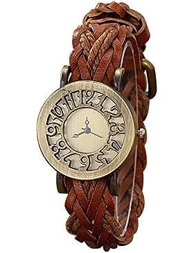 SODIAL(R) Damen Retro Stil Aushoehlung Quarz Leder Hanfseil Gewebter Guertel Armbanduhr