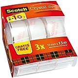 Scotch Ruban Scotch Crystal 7,5 m x 19 mm - 2 Rouleaux + 1 Gratuit