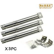 bar. b.q.s B001(Pack de 3) bar. b.q.s Universal Sustitución de acero inoxidable recta quemador de tubo (ajustable), 2.54dia ajustar forma 31cm a 44cm