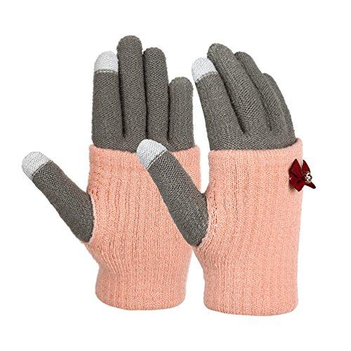 Vbiger Guantes de Punto Caliente Guantes de Moda de Invierno al Aire Libre Prueba de Viento (C-Rosa)