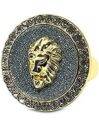 Bling King Gold Plated Gold Sand Signet Band Finger Lion King Spinning Bling Hip Hop Ring