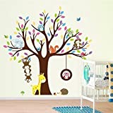 Grandora W5300 Wandtattoo Baum mit Affen Eulen Igel Giraffe