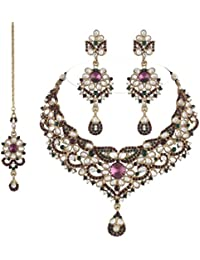 I Jewels Traditional Gold Plated Kundan Necklace Set With Maang Tikka For Women(Purple & Green)(K7030PuG)