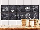 GRAZDesign 770500_10x10_FS10st Fliesenaufkleber Anthrazit mit Spruch Guten Appetit für Küche | alte Küchen-Fliesen überkleben | Fliesenbild selbst gestalten (10x10cm//Set 10 Stück)
