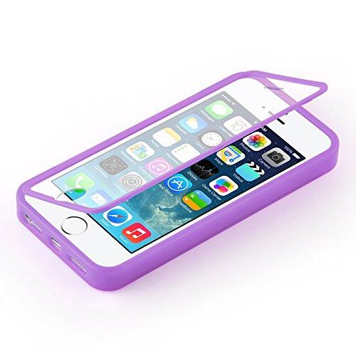 Cadorabo - Pratique protections (Full Body) de TPU silicone pour le Apple iPhone 5 / 5S / 5G - Une véritable protection complète - Coque Case Cover Bumper en ROSE VIF VIOLETS
