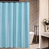 Punkte Duschvorhang Anti-Schimmel & Wasserdicht Polyester Duschvorhang mit verstärktem Saum mit Haken Blau 180x200cm