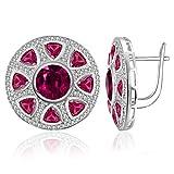 JewelryPalace Rubí Pendientes Plata de ley 925