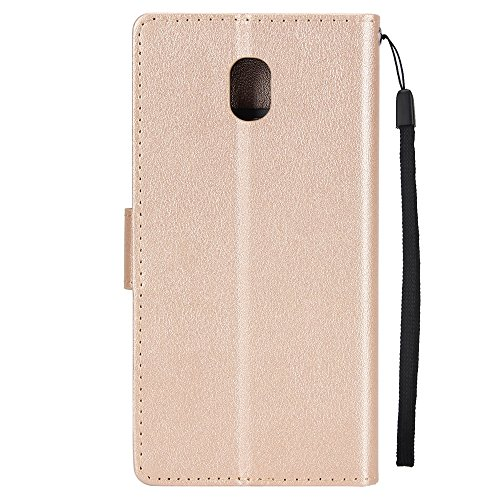 Klassische Premiu PU Ledertasche, Horizontale Flip Stand Case Cover mit Cash & Card Slots & Lanyard & Soft TPU Interio Rückseite für Samsung Galaxy J730 ( Color : Gold ) Gold