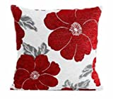 "Poppy, Chenille Cushion Covers, Floral Cushions, Pillow Covers, 18"" x 18"", 45cm x 45cm (Red)"