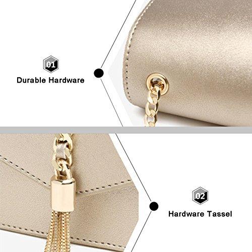 Sacchetti di busta della nappa della Yoome Pure Color Bag Retro per le borse della catena di cuoio delle donne per le ragazze - oro Nero