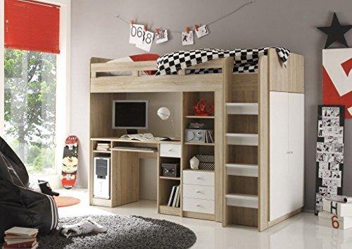 Avanti trendstore - letto con scrivania incorporata in qercia sonoma / bianco d'imitazione, ca. 204x160x112 cm