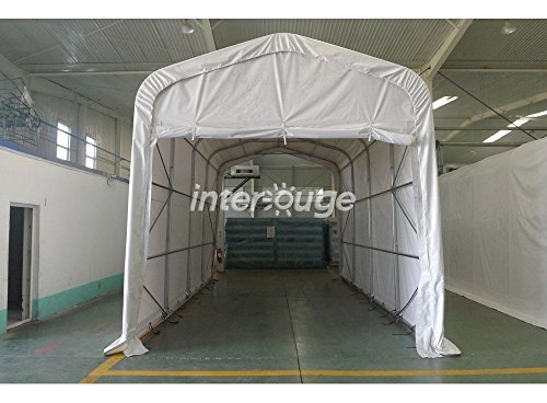 Interouge Carport 3,5 x 7 m in verzinktem Stahl und EIN Dach, Die In PVC 500 g/m² Pavillon Boot Shelter Himmel Garage weiß