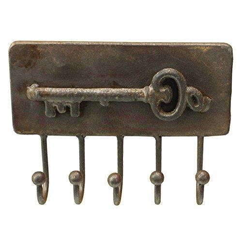 MACOSA SA81414 Schlüsselleiste 5 Haken Eckig Metallhaken Braun Antik rostik Schlüssel-Haken Haken-Leiste Metall Kleiderhaken Garderobenhaken Vintage