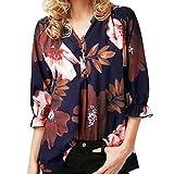 iYmitz Damen Blumendruck Drei Viertel Sleeve Button Bluse Pullover Tops Shirt(Violett,L)