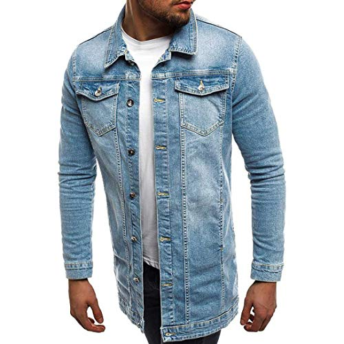 Uomini Autunno e inverno Sezione lunga Retro lavato cowboy cappotto  Soprabito in lana d epoca autunno-inverno manica - Giacca di jeans da uomo  elegante ... 24d1e2c6259