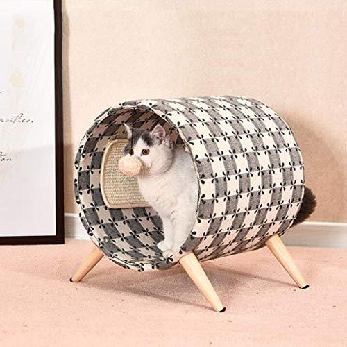 Schmiedeeisen Fass (JSSFQK Massives Holz Katzenbett rundes Fass Haustier Katze liefert multifunktionalen niedlichen Katzenstreu Katze Klettergerüst, 40 × 45 × 47 cm Haustierbett)