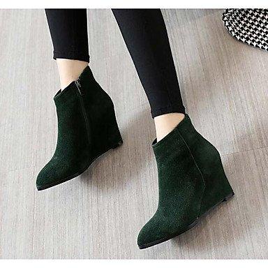 Stivali Donna Comfort Camoscio Sleeveless Casual Comfort Verde Nero Piatto Black