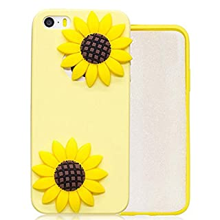 Aeeque iPhone SE Cover Yellow, iPhone 5S 3D Creative Design Sunflowers Pattern Ultra Thin Soft Silicone Flexible Back Bumper [Shockproof] Protection Case for iPhone 5/5S/SE