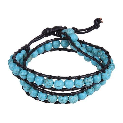 er Damen Türkis Perlen Wickel echtes Leder Armband oder Halskette (Echte Türkis-halskette Für Frauen)