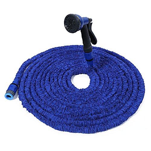 NUZAMAS 75ft Pipe à eau jardin extensible pied 75 flexible avec connecteurs 8 pistolets et haute pression, lavage, amélioré extensible Latex d'intérieur bleu 7,5 m - 22,5 m