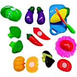 Bighub Sliceable 10 Pcs Vegetable Cutting Play Toy Set, Can Be Cut In 2 Parts