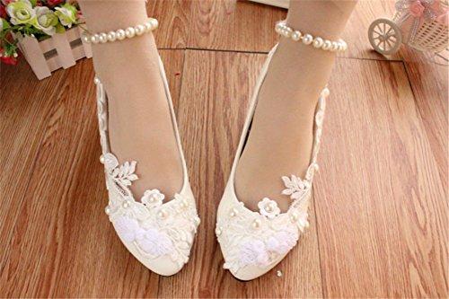 JINGXINSTORE Tacchi alti da sposa fatti a mano in pizzo bianco perlato da donna bianca